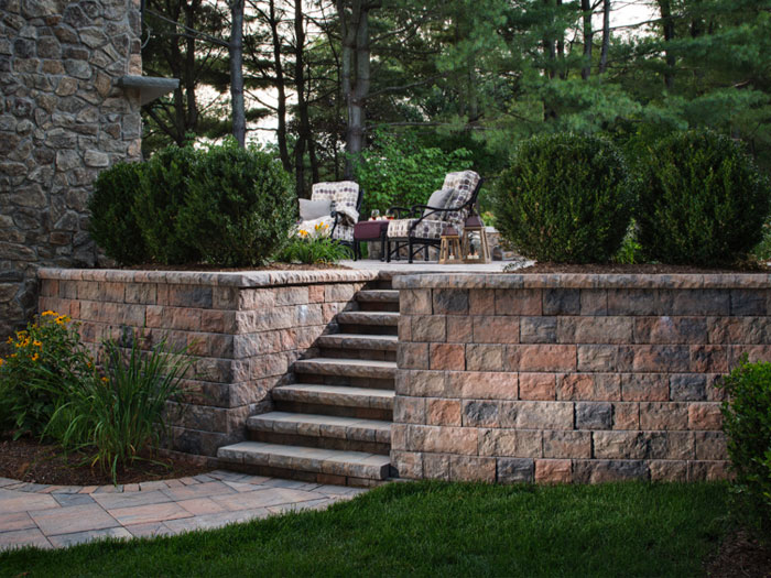 Block Retaining Wall, Paver Walkway, Tumbled Stone Steps