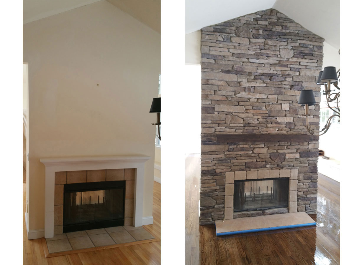 Hamptons Fireplace Design Contractor Before and After Pictures