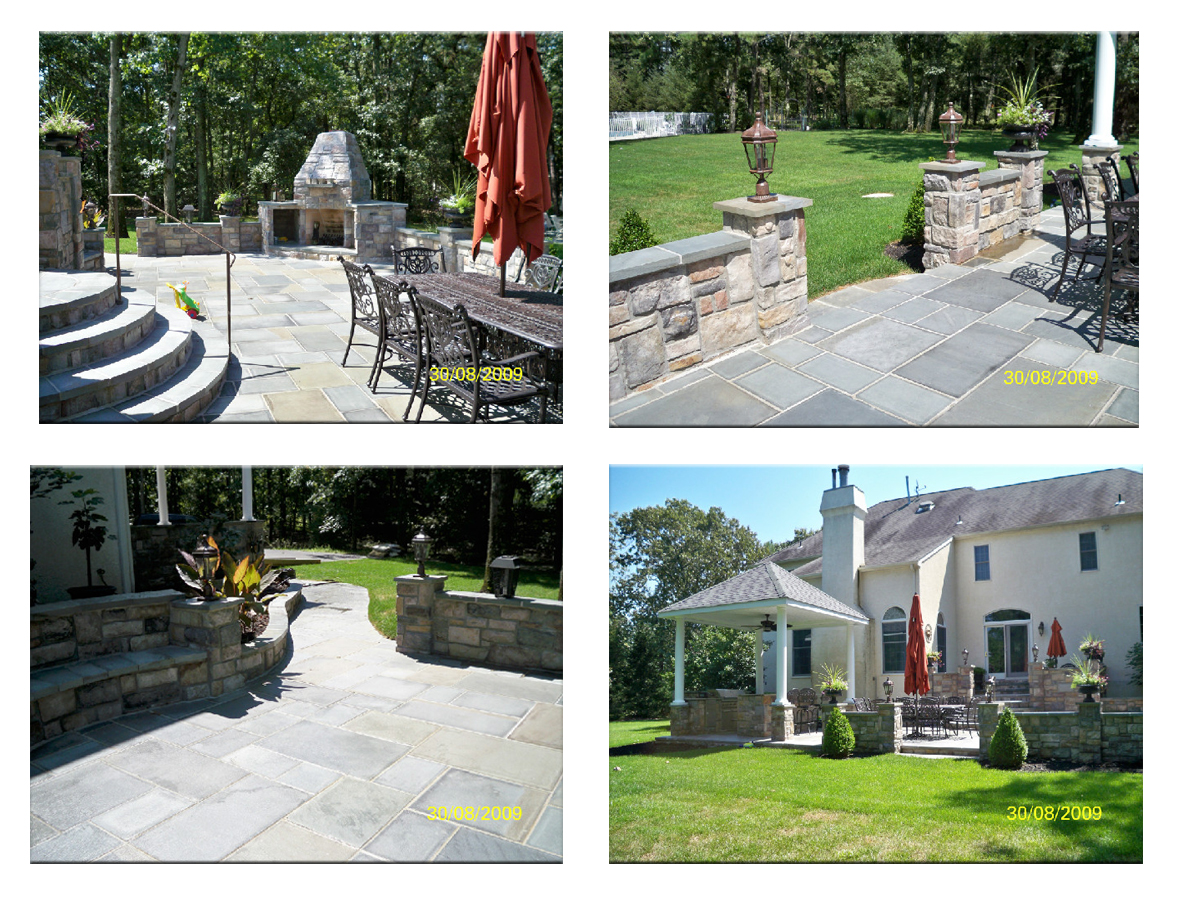 Hamptons Bluestone Patio Design along with Stone Wall and Seating Area