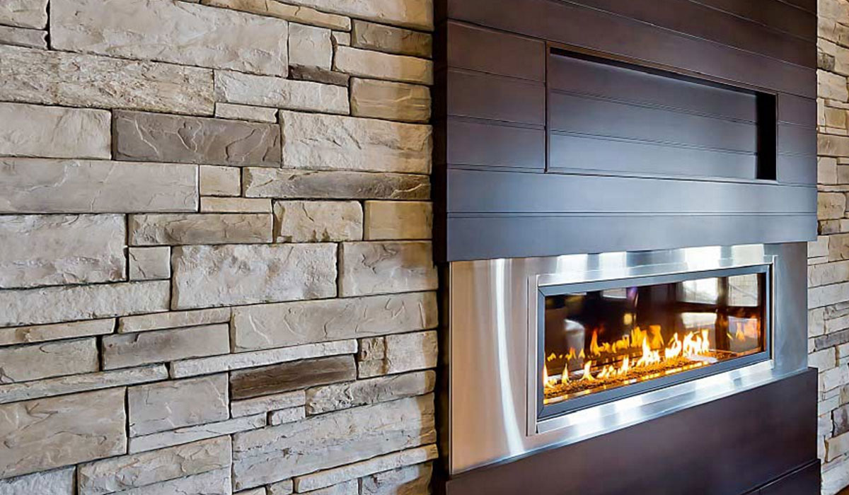 Stone Facing Interior Fireplace Wall