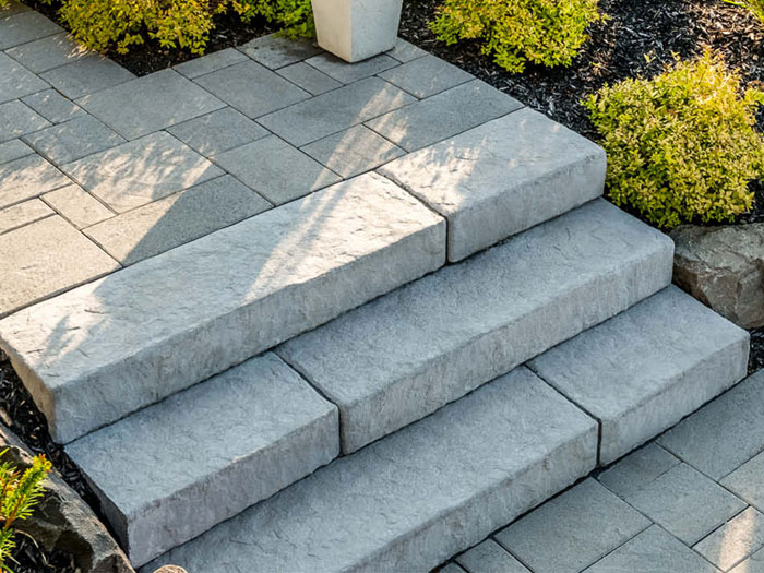 Paver Walkway, Tumbled Stone Steps
