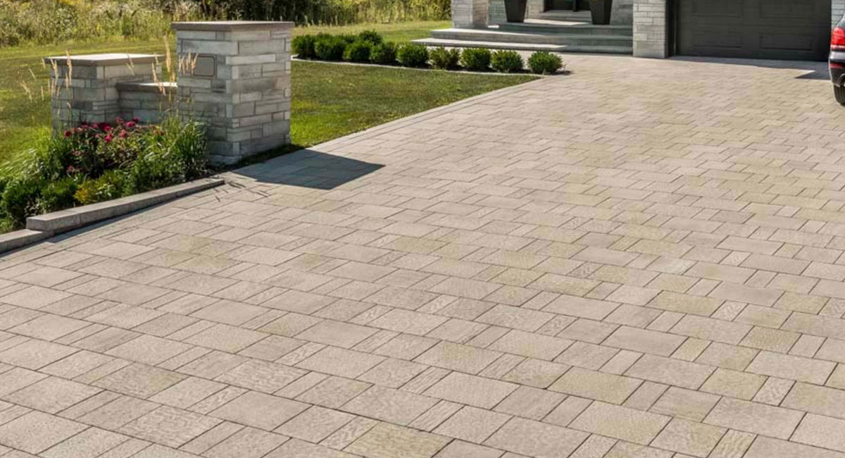 Contemporary Stone Paver Driveway